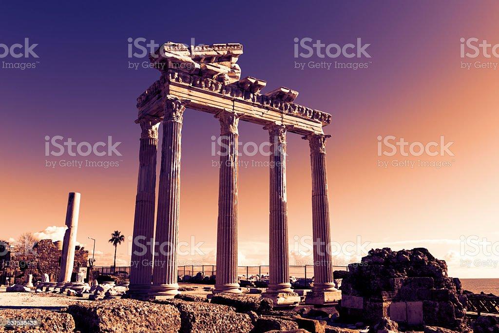 Side, Temple of Apollo, Turkey stock photo