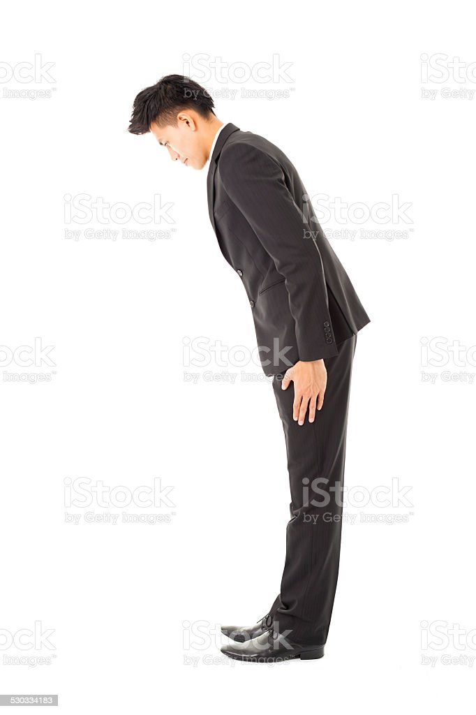 side view asian businessman with bow stock photo
