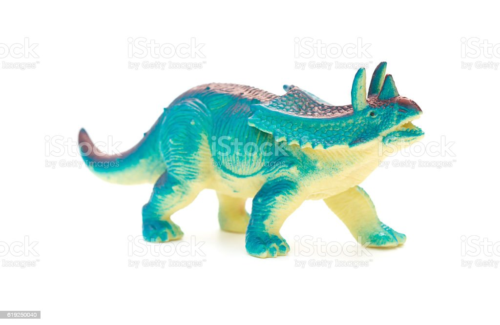 side view blue  Pentaceratops toy on a white background - foto de acervo
