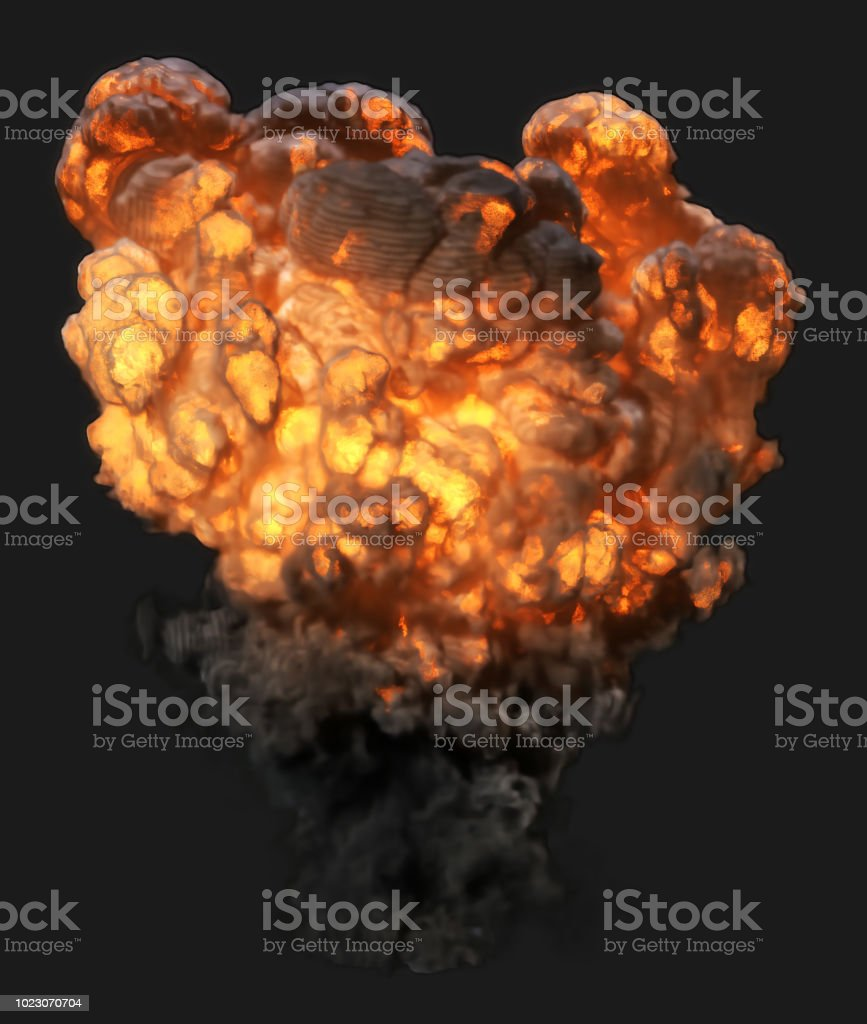 Side view explosion with smoke (clipping path included, so you can put your own background) stock photo