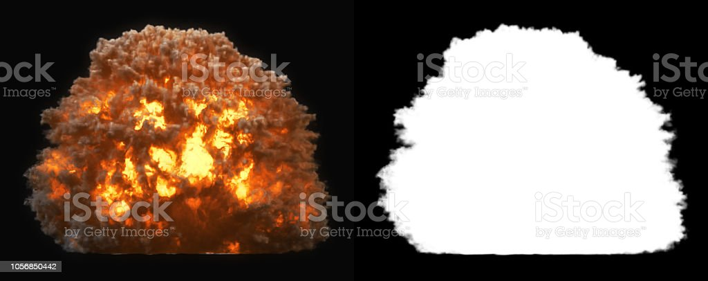 Side view explosion with smoke (alpha channel and clipping path included, so you can put your own background) stock photo