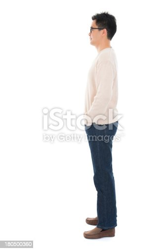 istock Side view full body casual Asian man 180500360