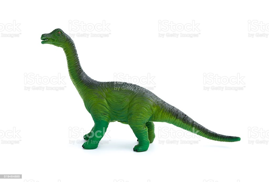 side view green brachiosaurus toy on a white background stock photo