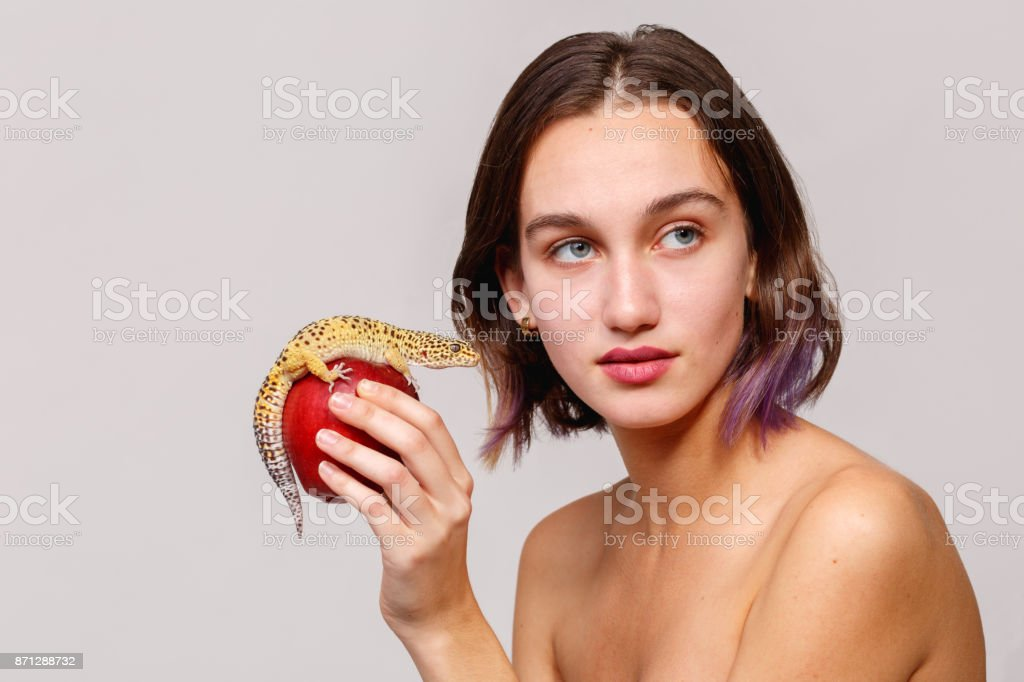 Side view. Isolation. Attractive girl holding in hand a red apple on which sits an iguana gecko. stock photo