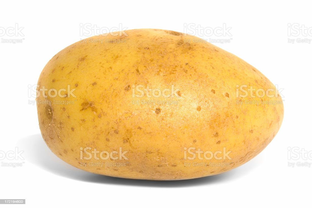 Side view of a baking potato against a white background stock photo