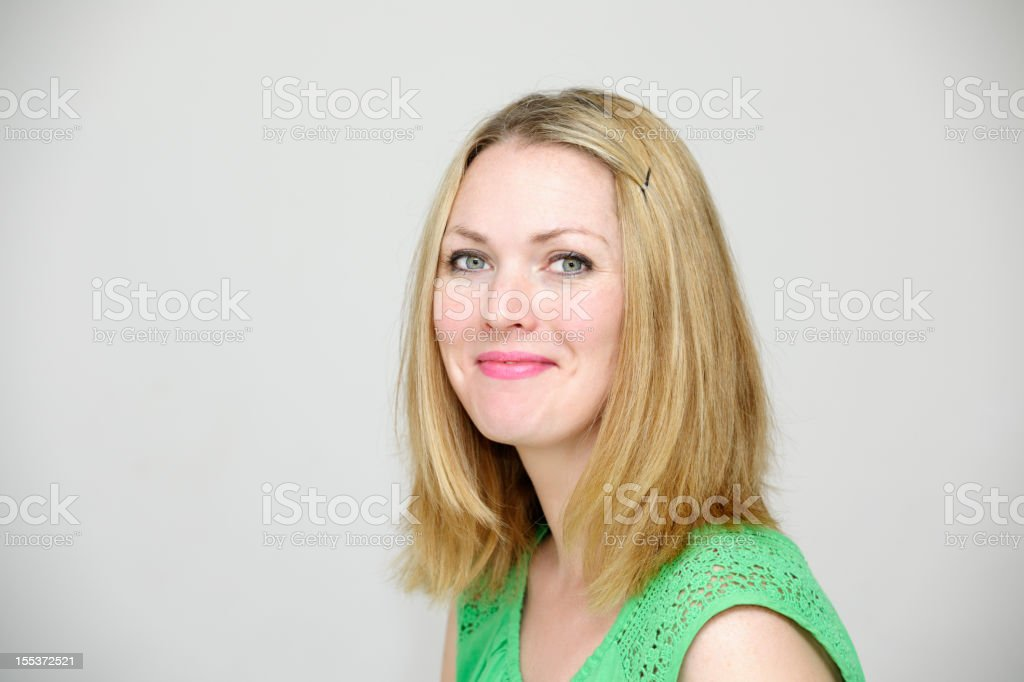 Side View Of A Beautiful Caucasian Woman royalty-free stock photo