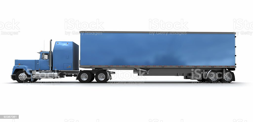 Side view of a big blue trailer truck royalty-free stock photo