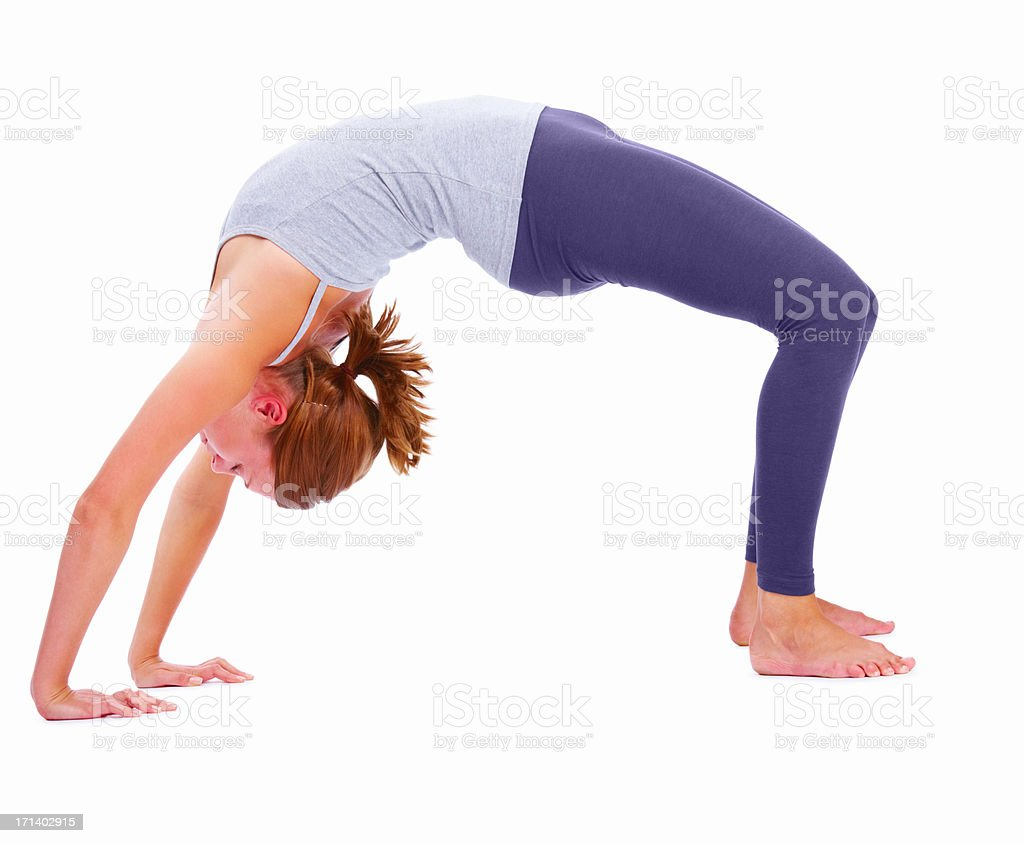 Side view of a girl exercising, isolated on white background stock photo