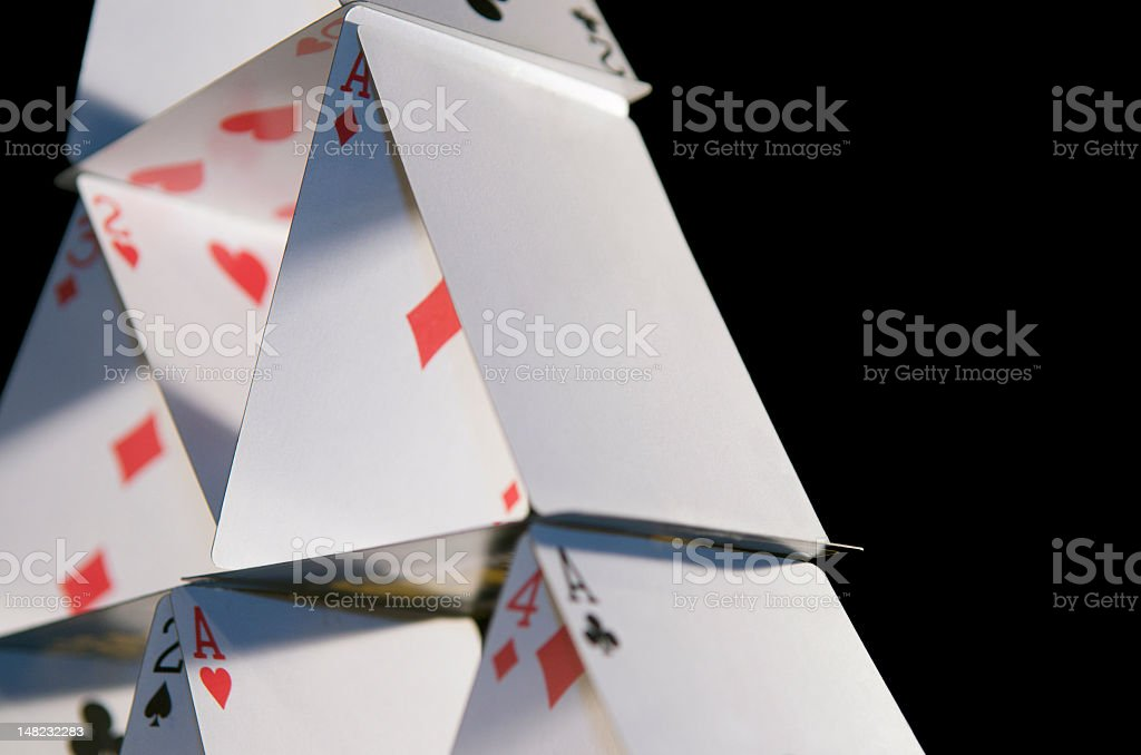 A side view of a house of cards  stock photo