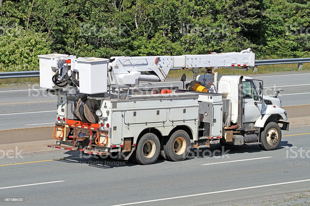 Side View Of A Hydro Utility Truck On A Highway stock photo