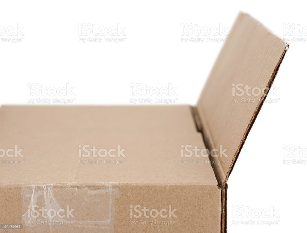 Side View of a Open Box royalty-free stock photo
