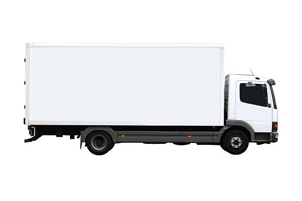 side view of a plain white truck - side view stock photos and pictures