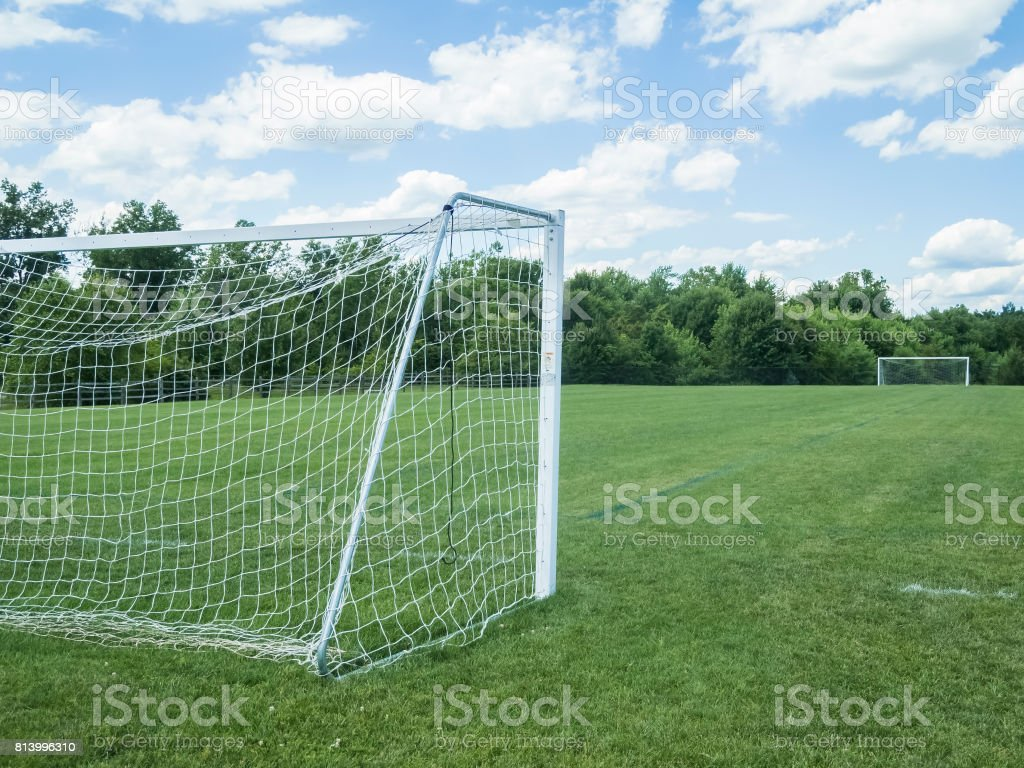 c1bf09530 Side View Of a Public Soccer Field, Goal Net To The Left - Stock image .