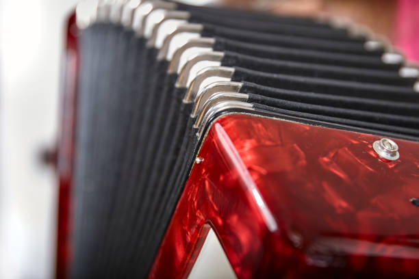 side view of a red accordion stock photo
