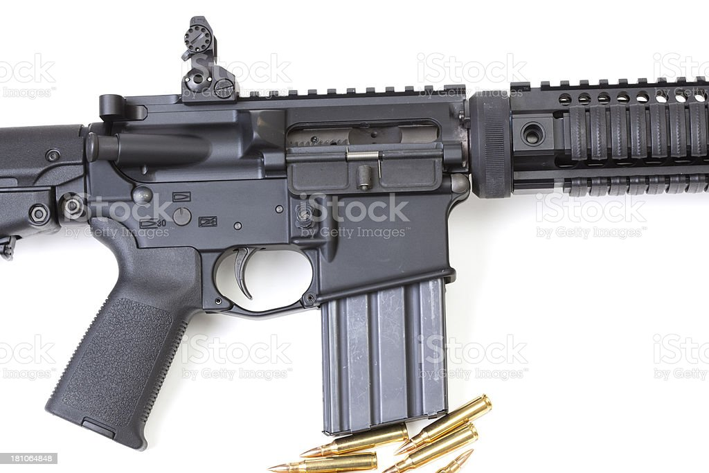 Side view of a semi-automatic rifle royalty-free stock photo