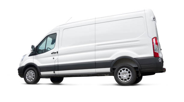 Side view of a white van on white background - isolated stock photo