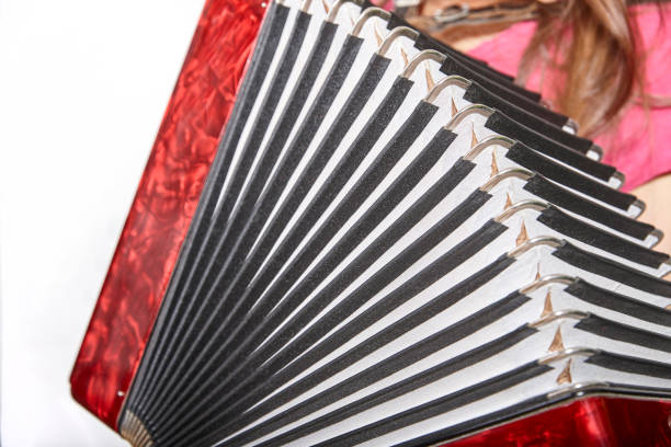 side view of an accordion and a part of a woman with long hair stock photo