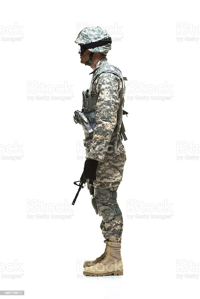 Side view of army man standing royalty-free stock photo