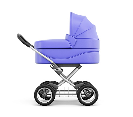 Side view of baby stroller isolated on white background.