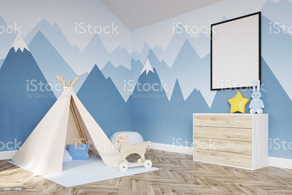Side view of baby's room. Crib and poster stock photo