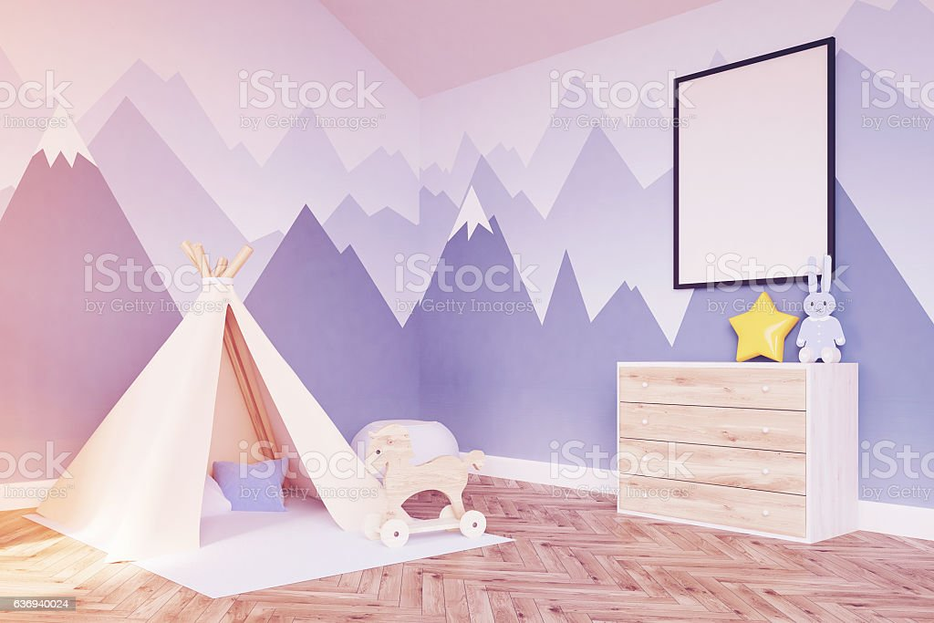 Side view of baby's room. Crib and poster, toned stock photo