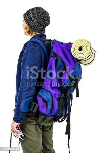 istock Side view of backpacker hipster 845559238