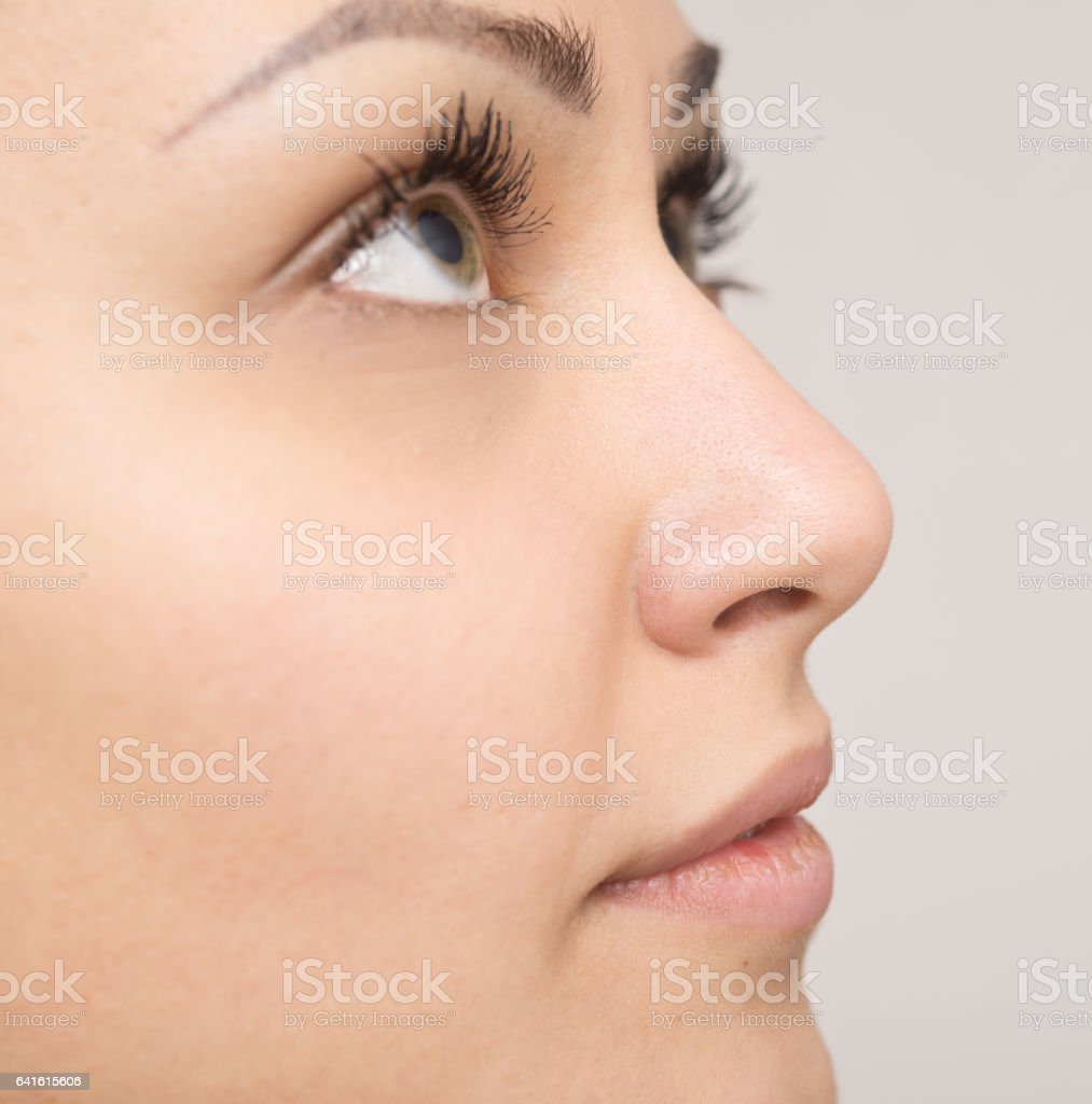 side view of beautiful woman stock photo