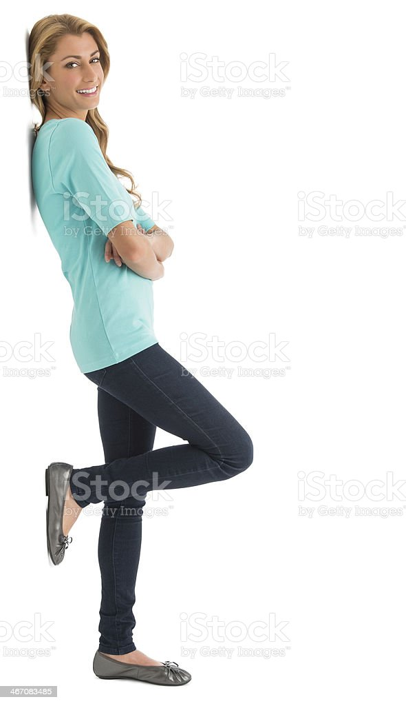 Side View Of Beautiful Woman With Arms Crossed stock photo