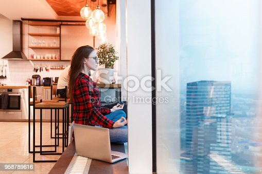 1162297213 istock photo Side view of beautiful young woman outsourcing accountant working with laptop and meditating on background of blurred colleagues in studio with windows overlooking the skyscrapers. Copyspace 958789616