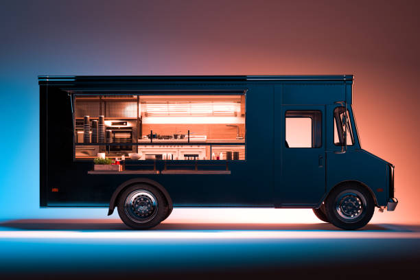 Side View of Black Food Truck With Detailed Interior Isolated on Illuminated Background. Takeaway food. 3d rendering. Side View Of Black Food Truck With Detailed Interior Isolated on Illuminated Background. Cozy Interior With Warm Light. Takeaway food and drinks. 3d rendering. food truck stock pictures, royalty-free photos & images