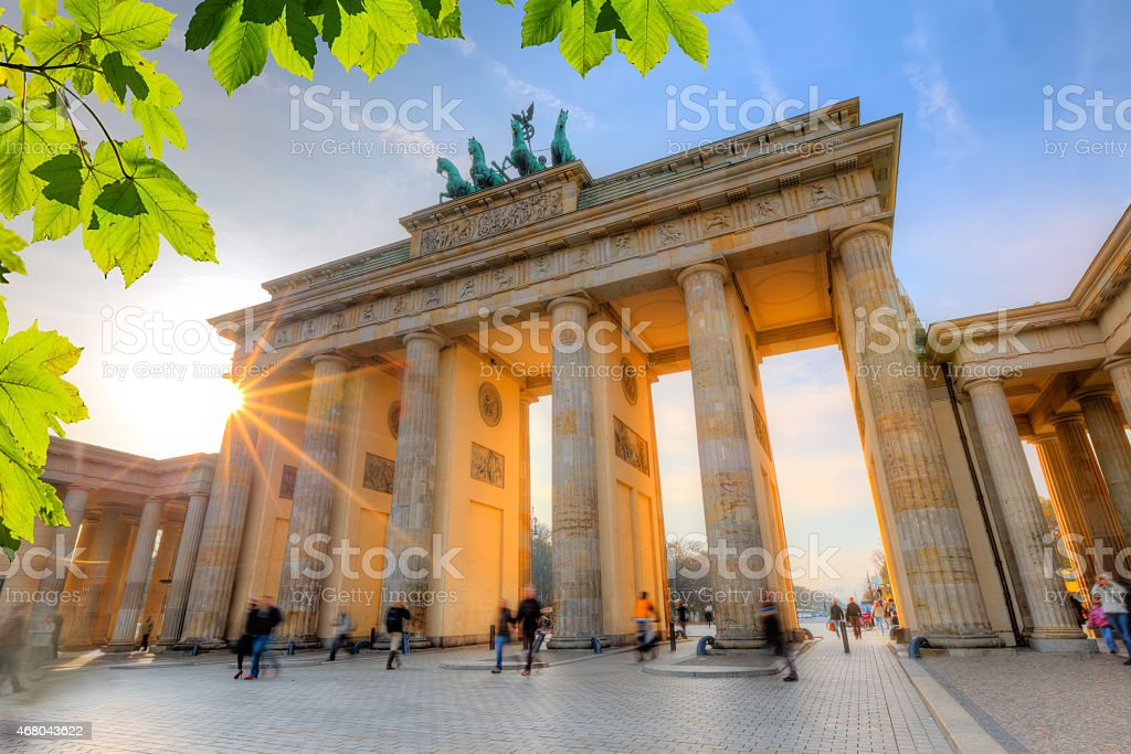 Side view of Brandenburg Gate at sunset stock photo