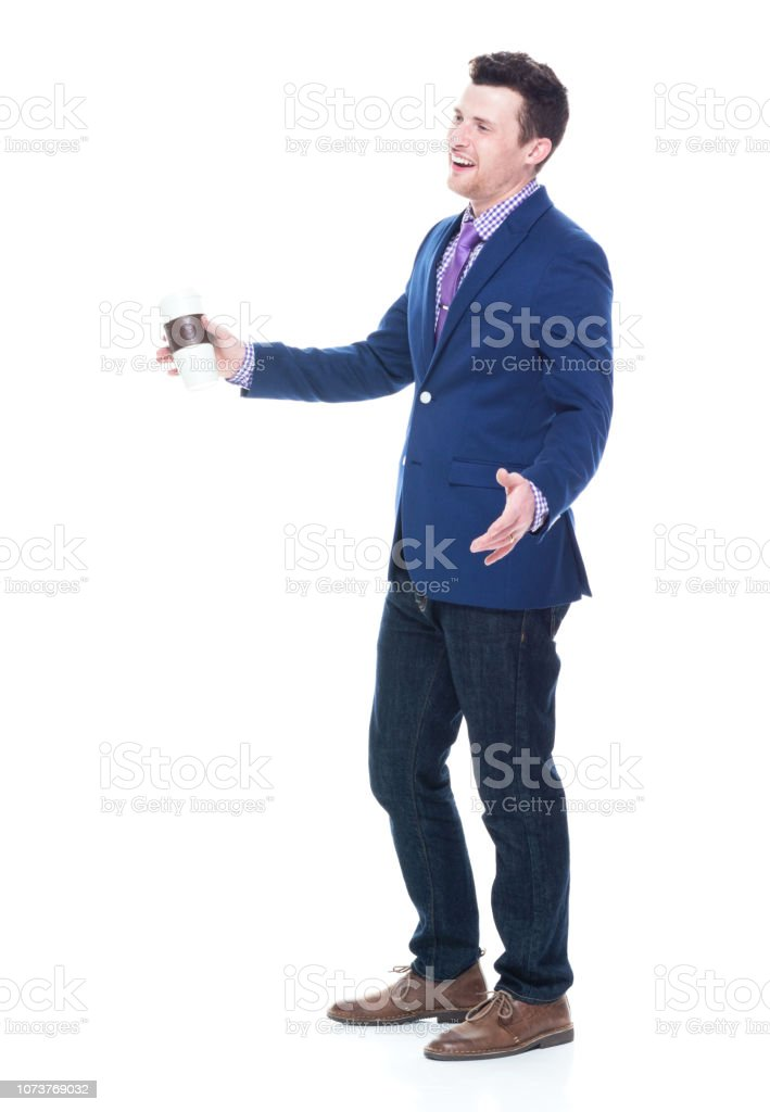 Side view of businessman holding coffee drink stock photo