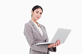 istock Side view of businesswoman with laptop 824852830