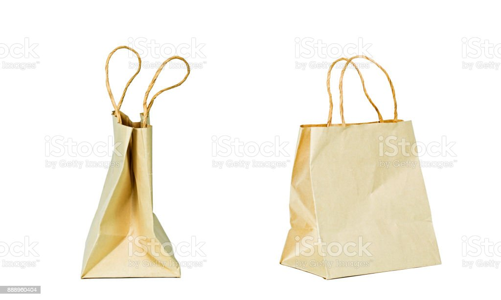 Side view of carton bag on the white background. Clipping path inside. stock photo