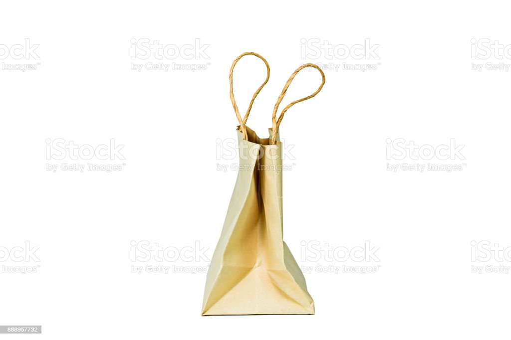 Side view of carton bag on the white background.Clipping path inside. stock photo
