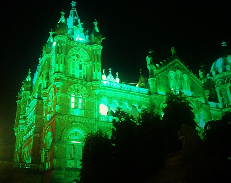 Side View Of Chhatrapati Shivaji Terminus Railway Station At Night Stock Photo - Download Image Now