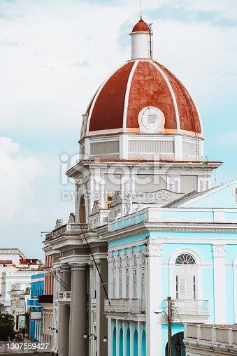 Side View Of City Hall In Jose Marti Park In Cienfuegos. Cuba