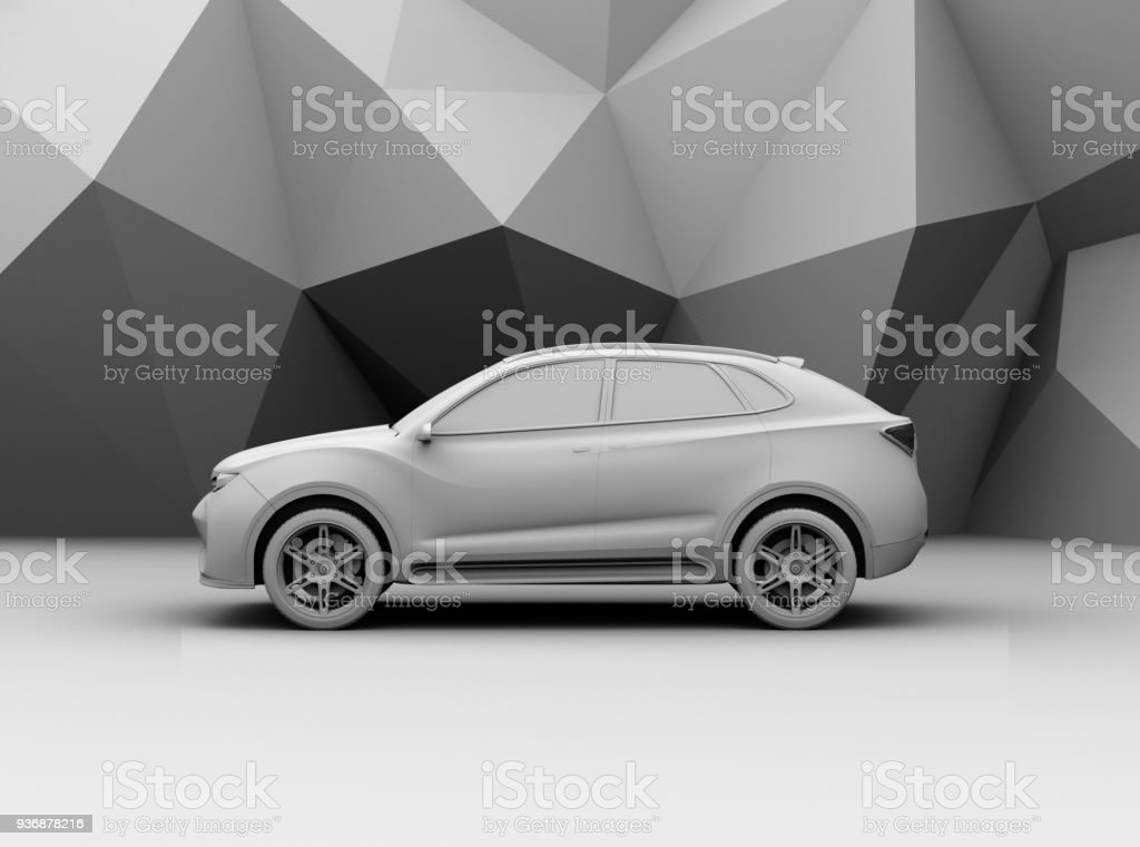 Side view of clay rendering electric SUV on geometric background stock photo