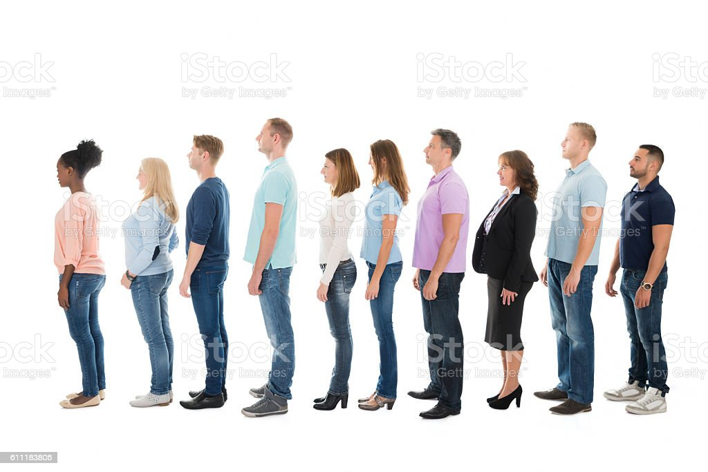 Side View Of Creative Business People Standing In Row stock photo
