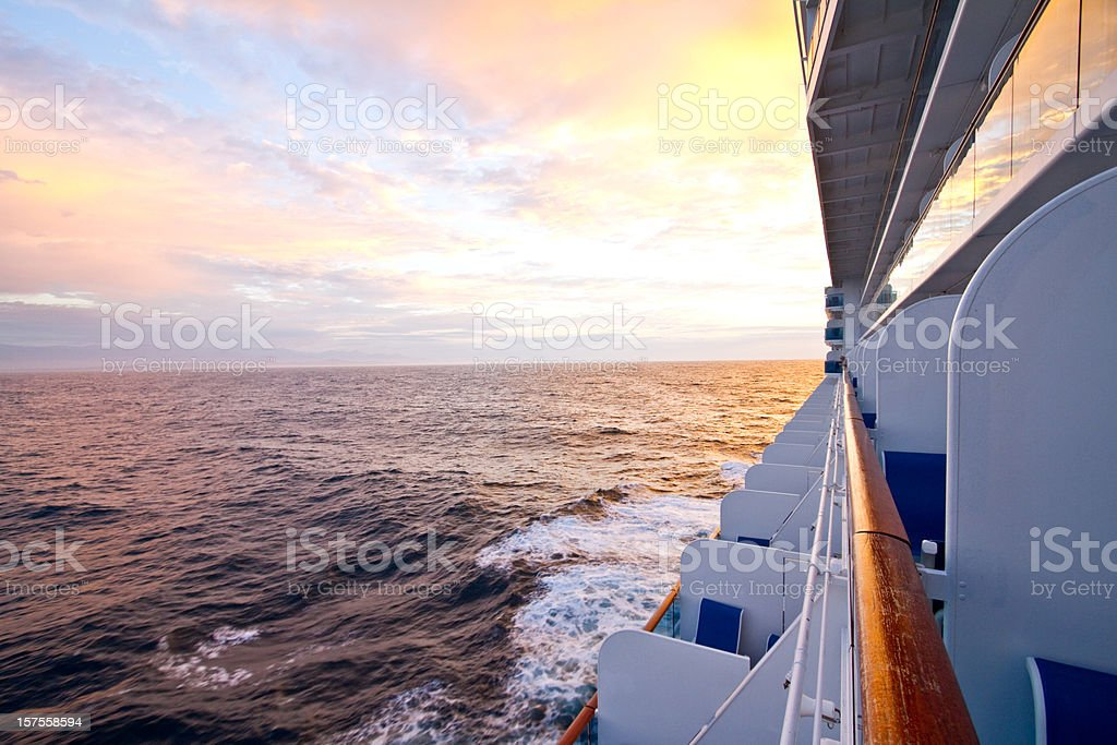 Side View of Cruise Ship at Dusk stock photo