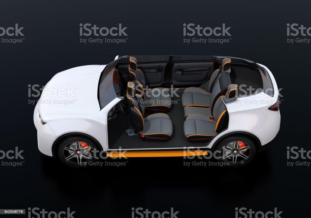 Seitenansicht des Cutaway weiß selbst Auto Elektro-SUV auf schwarzem Hintergrund – Foto