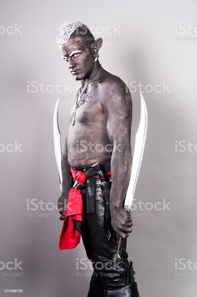 Side view of Drow elf with two swords. stock photo