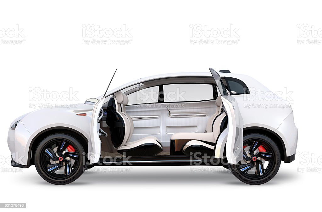 Side view of electric SUV concept car stock photo