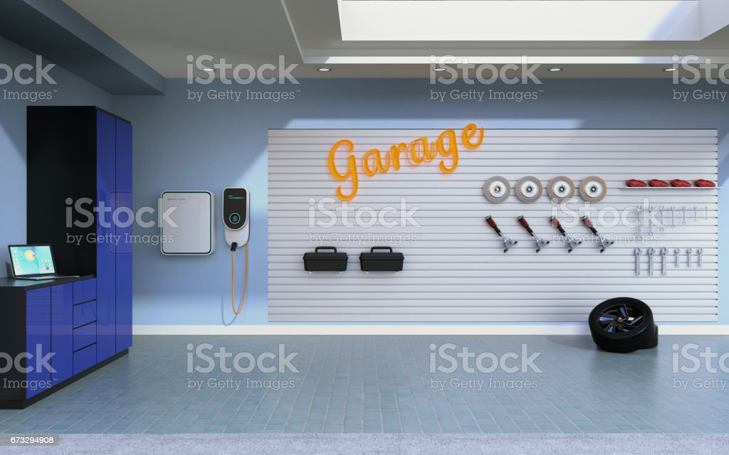 Side view of empty residential garage stock photo