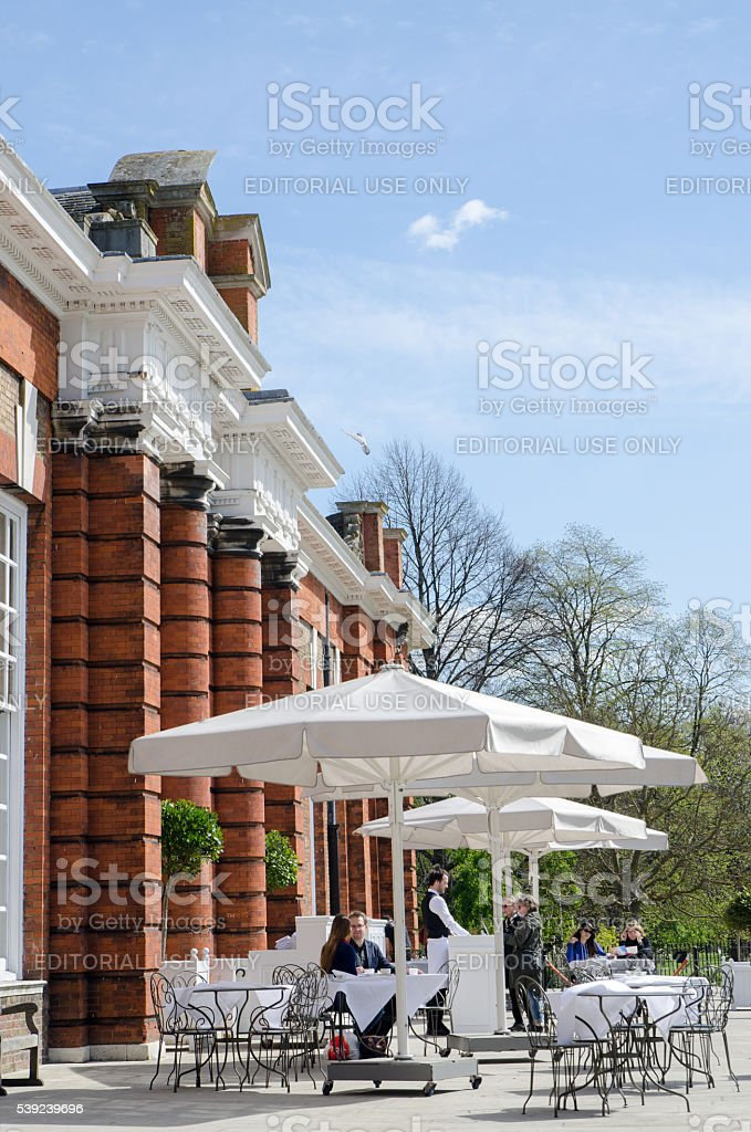 Side view of facade and patio of Orangerie Restaurant royalty-free stock photo