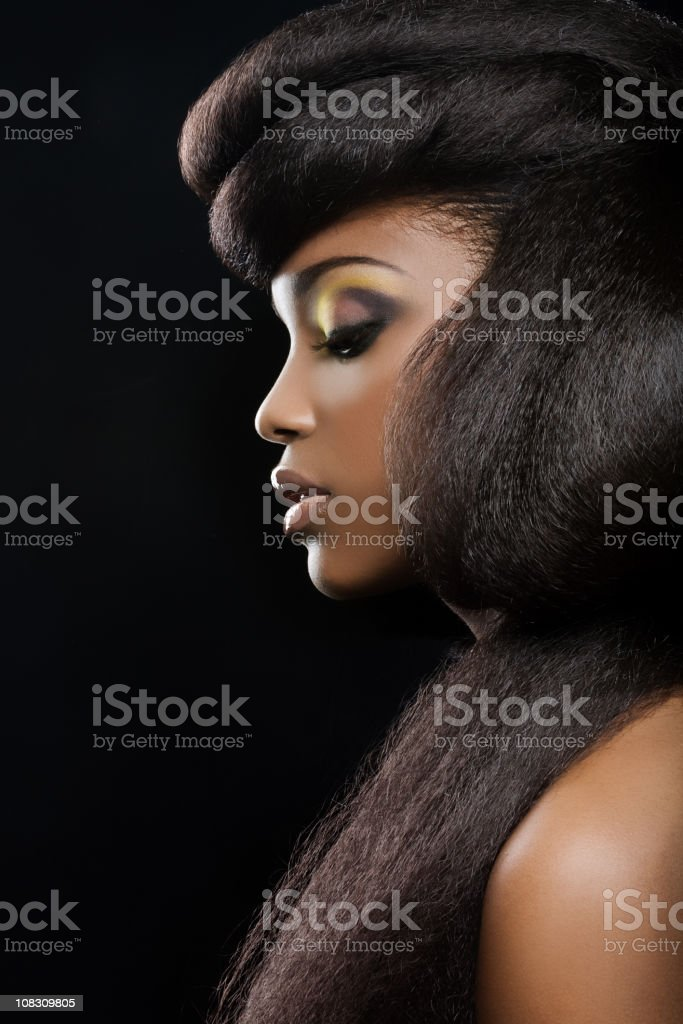 side view of fashion black model stock photo