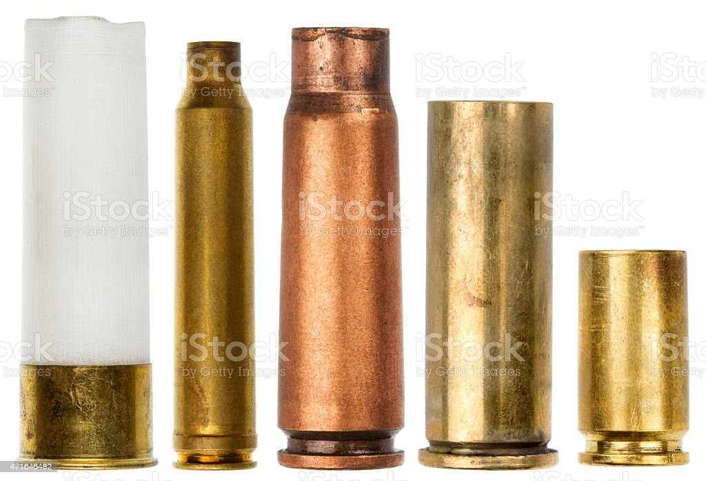 Side view of five different shotgun cartridges stock photo