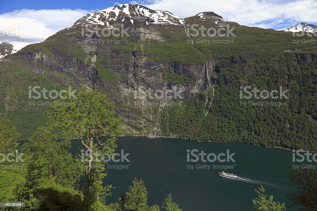 Side view of Geiranger fjord and boat crossing, Norway stock photo