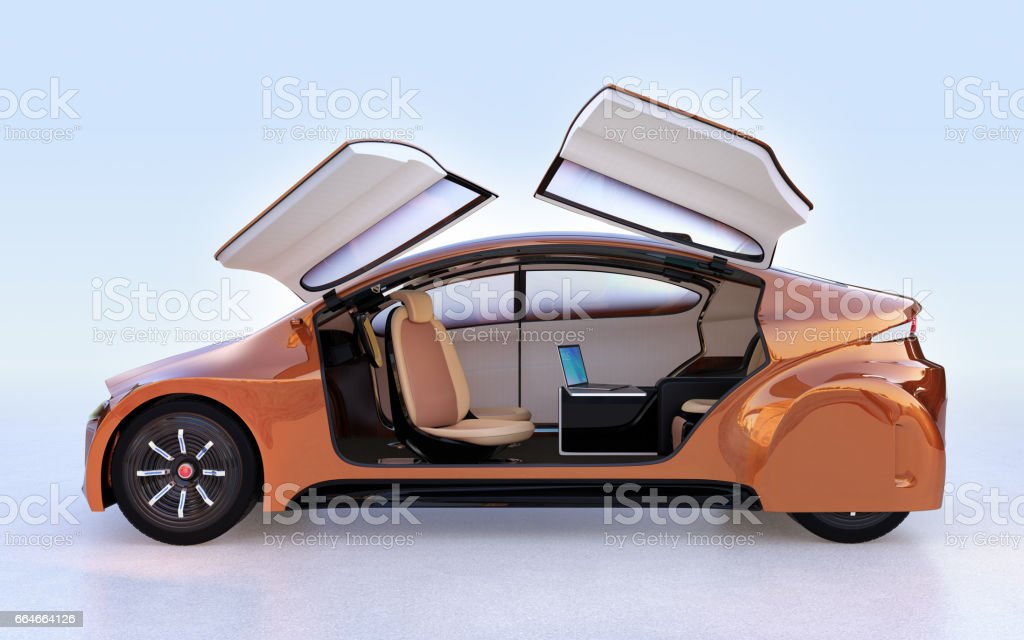 Side view of golden autonomous vehicle stock photo
