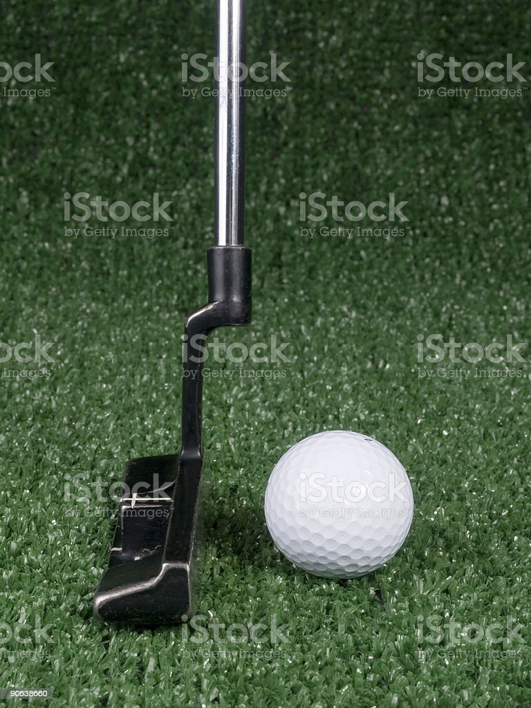 Side View of Golf Putt royalty-free stock photo